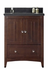 American Imaginations 30.5-in. W Floor Mount Walnut Vanity Set For 3H8-in. Drilling Black Galaxy Top Biscuit UM Sink