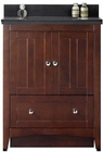 American Imaginations 30.5-in. W Floor Mount Walnut Vanity Set For 3H8-in. Drilling Black Galaxy Top White UM Sink