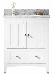 30.5-in. W Floor Mount White Vanity Set For 1 Hole Drilling Bianca Carara Top Biscuit UM Sink