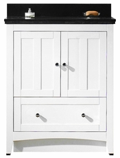 30.5-in. W Floor Mount White Vanity Set For 1 Hole Drilling Black Galaxy Top White UM Sink