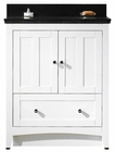 American Imaginations 30.5-in. W Floor Mount White Vanity Set For 3H4-in. Drilling Black Galaxy Top Biscuit UM Sink