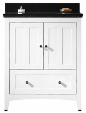 30.5-in. W Floor Mount White Vanity Set For 3H4-in. Drilling Black Galaxy Top Biscuit UM Sink