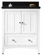 30.5-in. W Floor Mount White Vanity Set For 3H4-in. Drilling Black Galaxy Top White UM Sink