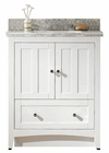 American Imaginations 30.5-in. W Floor Mount White Vanity Set For 3H8-in. Drilling Bianca Carara Top Biscuit UM Sink