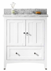 30.5-in. W Floor Mount White Vanity Set For 3H8-in. Drilling Bianca Carara Top Biscuit UM Sink