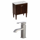 American Imaginations 30-in. W Floor Mount Antique Walnut Vanity Set For 1 Hole Drilling