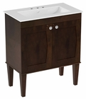 American Imaginations 30-in. W Floor Mount Antique Walnut Vanity Set For 3H4-in. Drilling