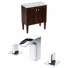 American Imaginations 30-in. W Floor Mount Antique Walnut Vanity Set For 3H8-in. Drilling