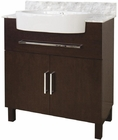 American Imaginations 33-in. W Floor Mount Walnut Vanity Set For Deck Mount Drilling Bianca Carara Top