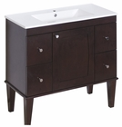 American Imaginations 35.5-in. W Floor Mount Antique Walnut Vanity Set For 1 Hole Drilling