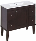 American Imaginations 35.5-in. W Floor Mount Antique Walnut Vanity Set For 3H4-in. Drilling
