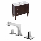 35.5-in. W Floor Mount Antique Walnut Vanity Set For 3H8-in. Drilling