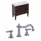 American Imaginations 35.5-in. W Floor Mount Antique Walnut Vanity Set For 3H8-in. Drilling