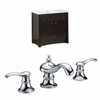 35.5-in. W Floor Mount Distressed Antique Walnut Vanity Set For 3H8-in. Drilling