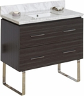 American Imaginations 36-in. W Floor Mount Dawn Grey Vanity Set For 1 Hole Drilling Bianca Carara Top White UM Sink
