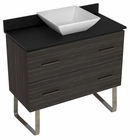 American Imaginations 36-in. W Floor Mount Dawn Grey Vanity Set For Deck Mount Drilling Black Galaxy Top
