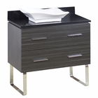 American Imaginations 36-in. W Floor Mount Dawn Grey Vanity Set For Wall Mount Drilling Black Galaxy Top
