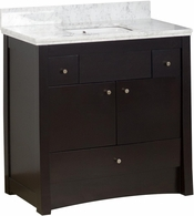36-in. W Floor Mount Distressed Antique Walnut Vanity Set For 3H4-in. Drilling Bianca Carara Top White UM Sink