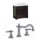 American Imaginations 36-in. W Floor Mount Distressed Antique Walnut Vanity Set For 3H8-in. Drilling