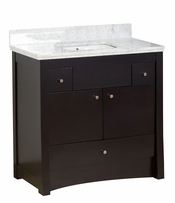 36-in. W Floor Mount Distressed Antique Walnut Vanity Set For 3H8-in. Drilling Bianca Carara Top White UM Sink