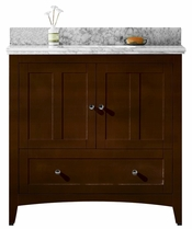 36-in. W Floor Mount Walnut Vanity Set For 1 Hole Drilling Bianca Carara Top White UM Sink