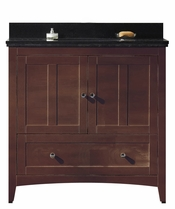 36-in. W Floor Mount Walnut Vanity Set For 3H4-in. Drilling Black Galaxy Top Biscuit UM Sink