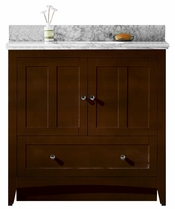 36-in. W Floor Mount Walnut Vanity Set For 3H8-in. Drilling Bianca Carara Top Biscuit UM Sink