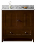 36-in. W Floor Mount Walnut Vanity Set For 3H8-in. Drilling Bianca Carara Top White UM Sink