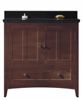 36-in. W Floor Mount Walnut Vanity Set For 3H8-in. Drilling Black Galaxy Top Biscuit UM Sink