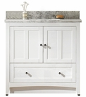 36-in. W Floor Mount White Vanity Set For 1 Hole Drilling Bianca Carara Top Biscuit UM Sink