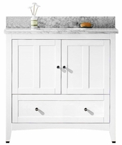 36-in. W Floor Mount White Vanity Set For 1 Hole Drilling Bianca Carara Top White UM Sink
