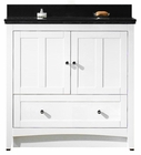 36-in. W Floor Mount White Vanity Set For 1 Hole Drilling Black Galaxy Top Biscuit UM Sink