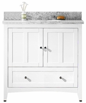 36-in. W Floor Mount White Vanity Set For 3H4-in. Drilling Bianca Carara Top Biscuit UM Sink