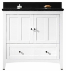 36-in. W Floor Mount White Vanity Set For 3H4-in. Drilling Black Galaxy Top Biscuit UM Sink