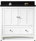 36-in. W Floor Mount White Vanity Set For 3H4-in. Drilling Black Galaxy Top White UM Sink