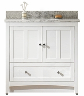 36-in. W Floor Mount White Vanity Set For 3H8-in. Drilling Bianca Carara Top Biscuit UM Sink