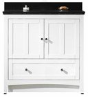 36-in. W Floor Mount White Vanity Set For 3H8-in. Drilling Black Galaxy Top Biscuit UM Sink