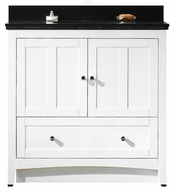 36-in. W Floor Mount White Vanity Set For 3H8-in. Drilling Black Galaxy Top White UM Sink