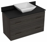 American Imaginations 36-in. W Wall Mount Dawn Grey Vanity Set For Deck Mount Drilling Black Galaxy Top