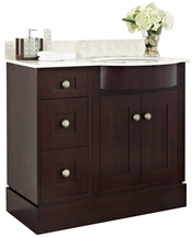 37.8-in. W Floor Mount Coffee Vanity Set For 3H8-in. Drilling Beige Top White UM Sink