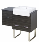 American Imaginations 38-in. W Floor Mount Dawn Grey Vanity Set For 1 Hole Drilling Black Galaxy Top