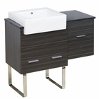 American Imaginations 38-in. W Floor Mount Dawn Grey Vanity Set For 3H4-in. Drilling Black Galaxy Top