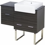 38-in. W Floor Mount Dawn Grey Vanity Set For 3H4-in. Drilling Black Galaxy Top