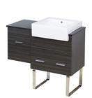 American Imaginations 38-in. W Floor Mount Dawn Grey Vanity Set For 3H8-in. Drilling Black Galaxy Top