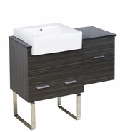 38-in. W Floor Mount Dawn Grey Vanity Set For 3H8-in. Drilling Black Galaxy Top