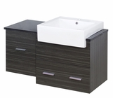 American Imaginations 38-in. W Wall Mount Dawn Grey Vanity Set For 1 Hole Drilling Black Galaxy Top