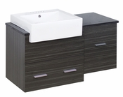 American Imaginations 38-in. W Wall Mount Dawn Grey Vanity Set For 3H4-in. Drilling Black Galaxy Top