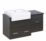 American Imaginations 38-in. W Wall Mount Dawn Grey Vanity Set For 3H8-in. Drilling Black Galaxy Top