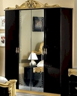 4 Door Wardrobe Black Baroque Classic Style Made in Italy 33B4310