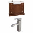 American Imaginations 40-in. W Floor Mount Cherry Vanity Set For 1 Hole Drilling